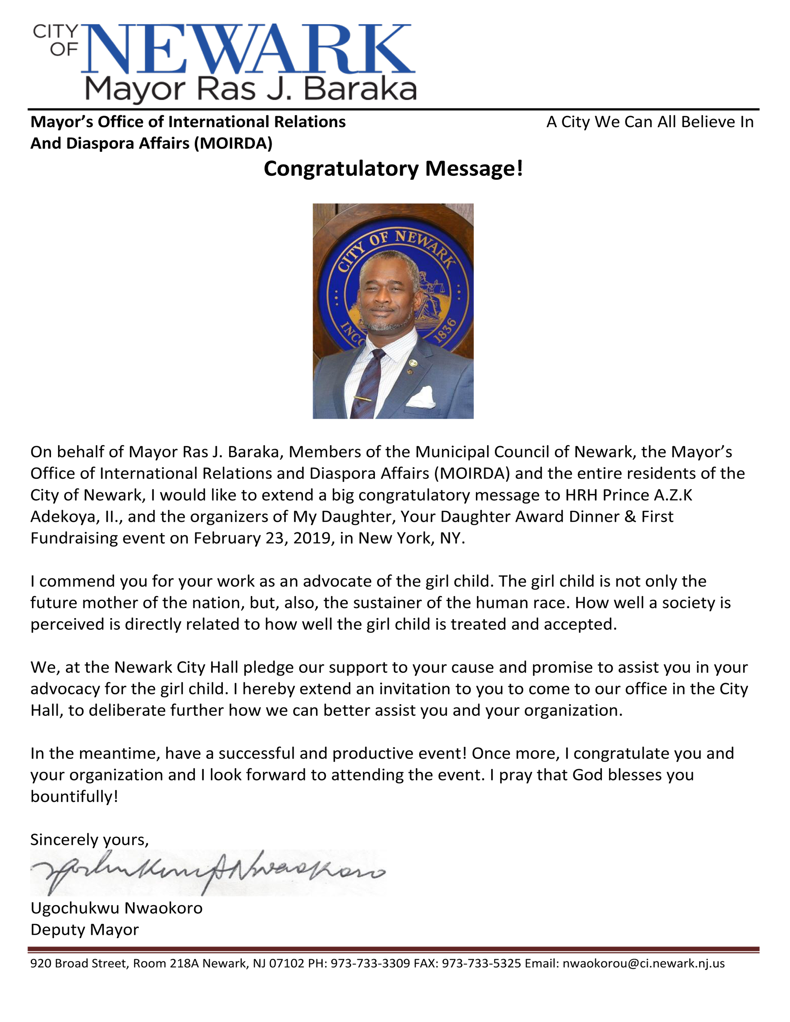 Congratulatory message - Hon