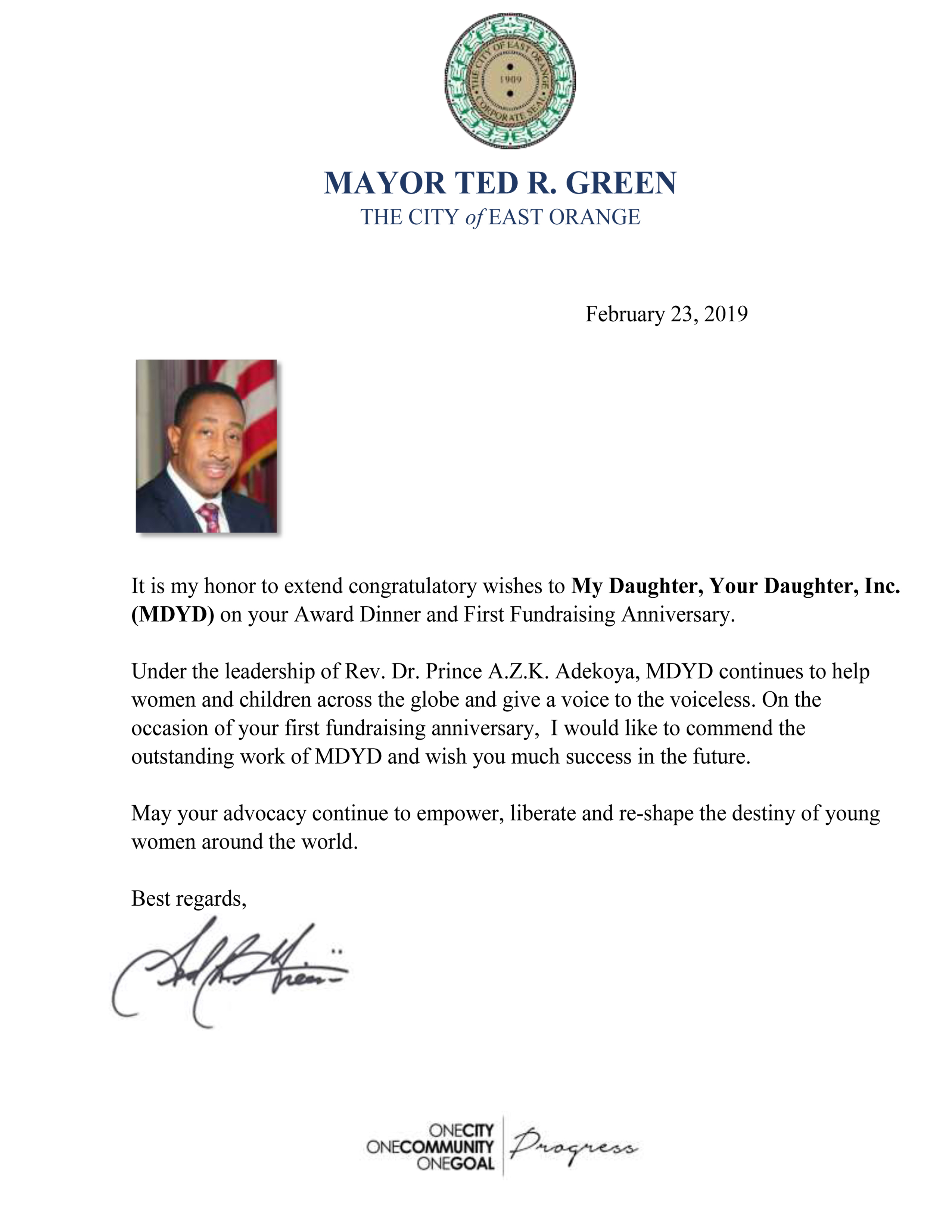 Letter from Mayor Ted Green