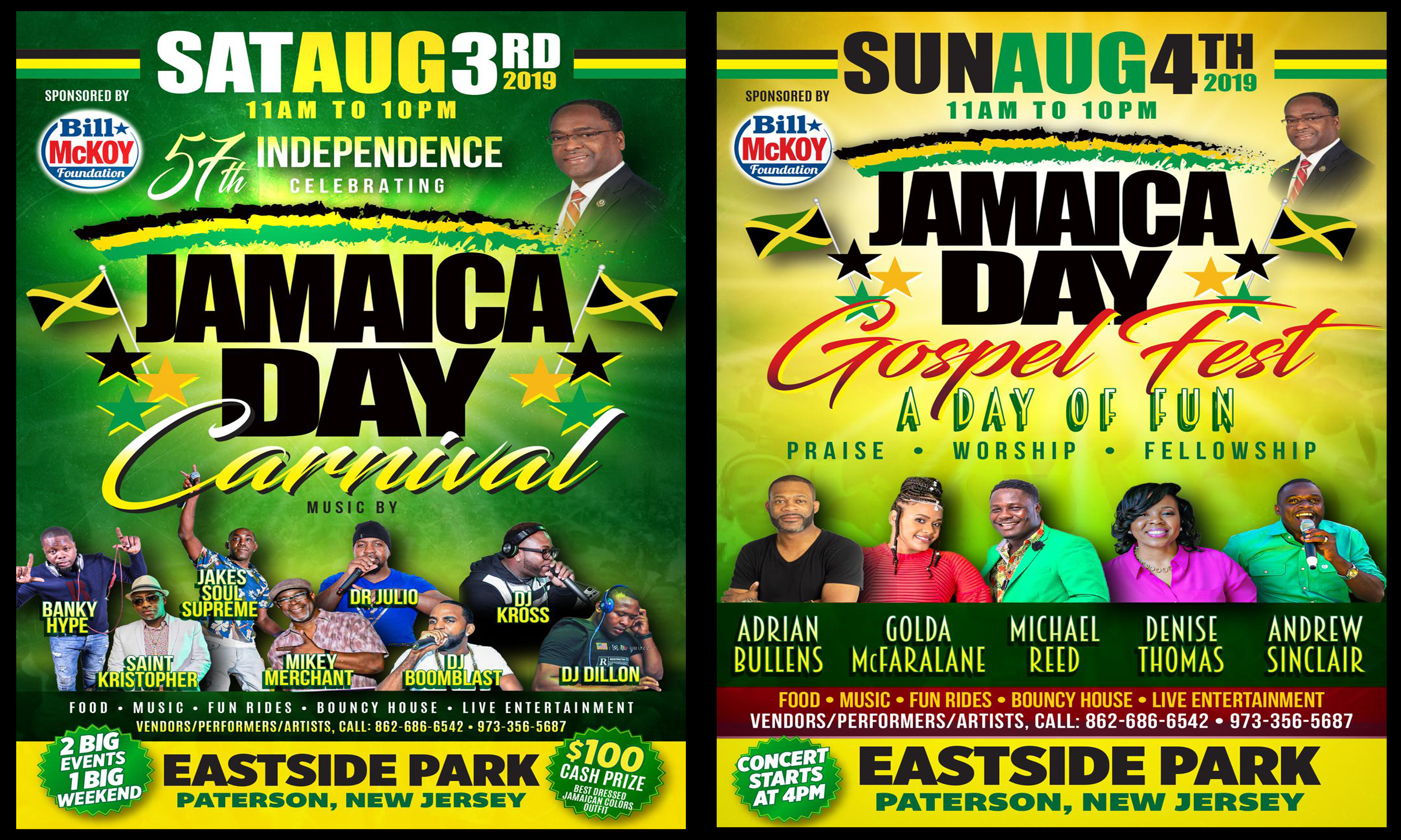JAMAICA DAY CARNIVAL AND GOSPEL FEST COMBINED FLYERS